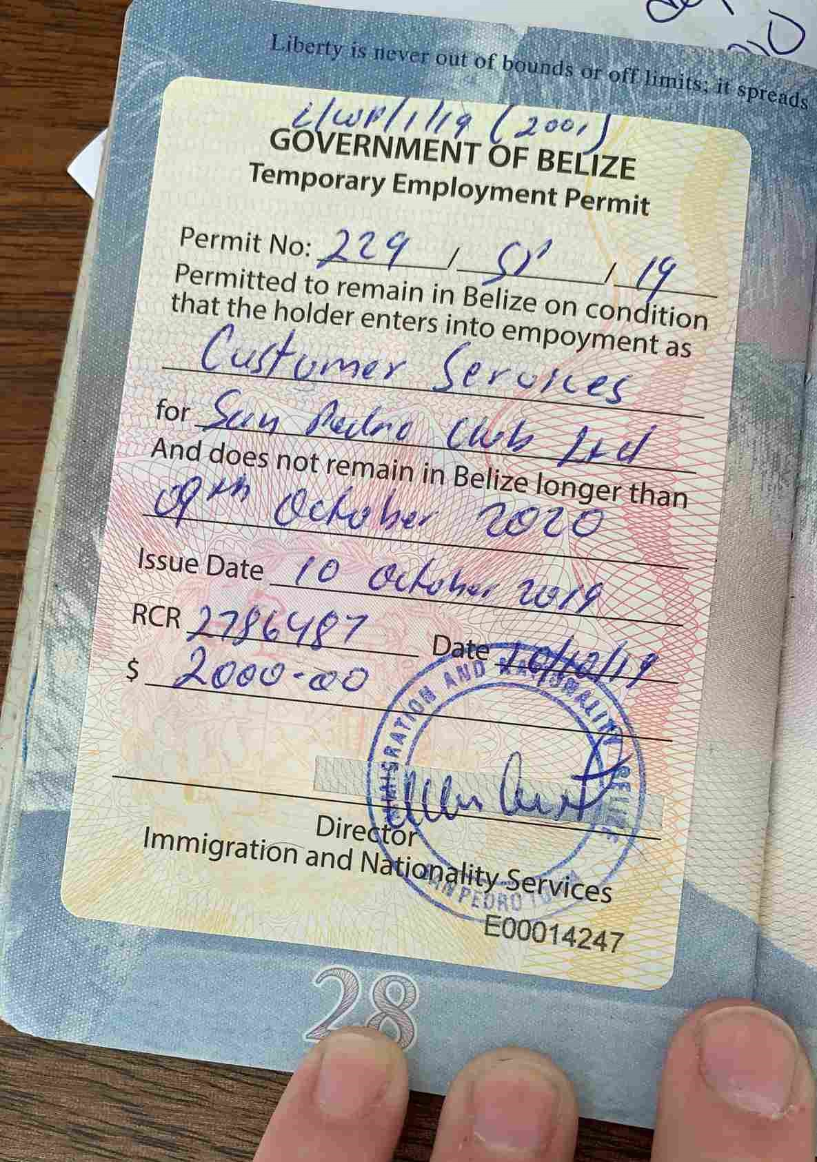 Belize Work Permit